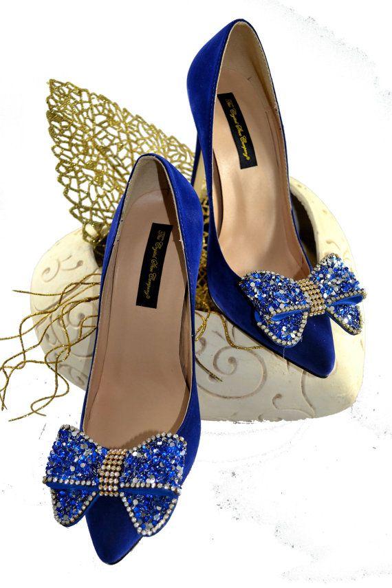 Bow cristal Swarovski Mon quelque chose de bleu de cobalt Navy Suede mariage nuptiale Cour talon haut pompe de chaussures