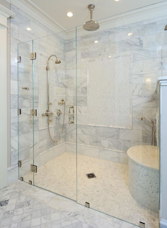 Zero Clearance Shower with a shower door.