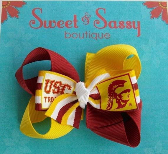USC Trojans Game Day hairbowUsc Hairbows