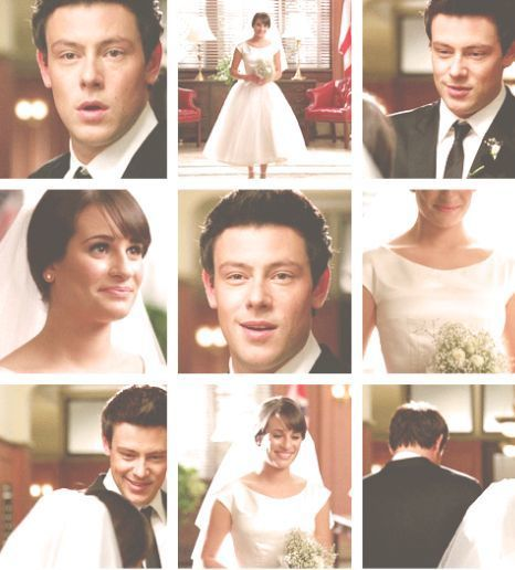 Rachel,Finn, and the wedding that didn't happen and now never will. Even though they never did get married, he got to see her in a wedding dress before he died :(