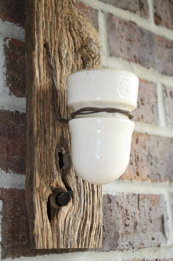 Barn Wood Recycled Candle Sconces With A Small White