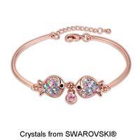 18 K de Oro Rosa Plateado Doble Peces Diseño de Pulseras, Made With SWAROVSKI ELEMENTS Crystal Brazaletes de Puño para Día de San Valentín 3447