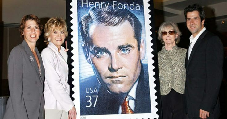 Troy Garity with his sister Vanessa, mother Jane Fonda and his grandfather's wife Shirlee at the unveiling of the US postage stamp honoring his grandfather, Henry Fonda
