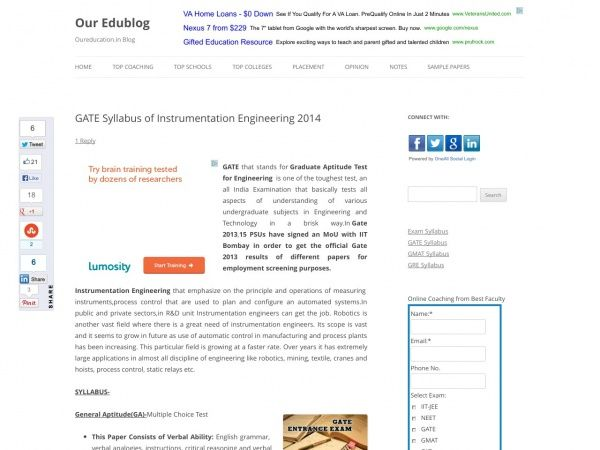 GATE Syllabus of Instrumentation Engineering 2014