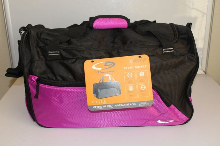 "champion women's sport duffel gym bag raspberry / black 22"" x 9"" x 12"" aprox. #champion #gymbag #luggage"