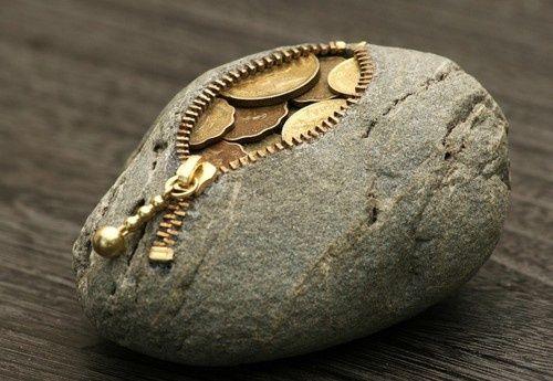 A rock coin purse.