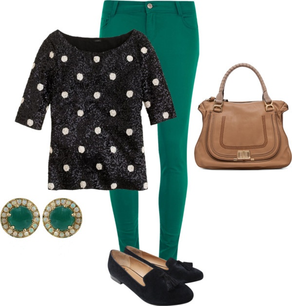 """""""#sequin #polkadot #green"""" by lildill26 on Polyvore"""