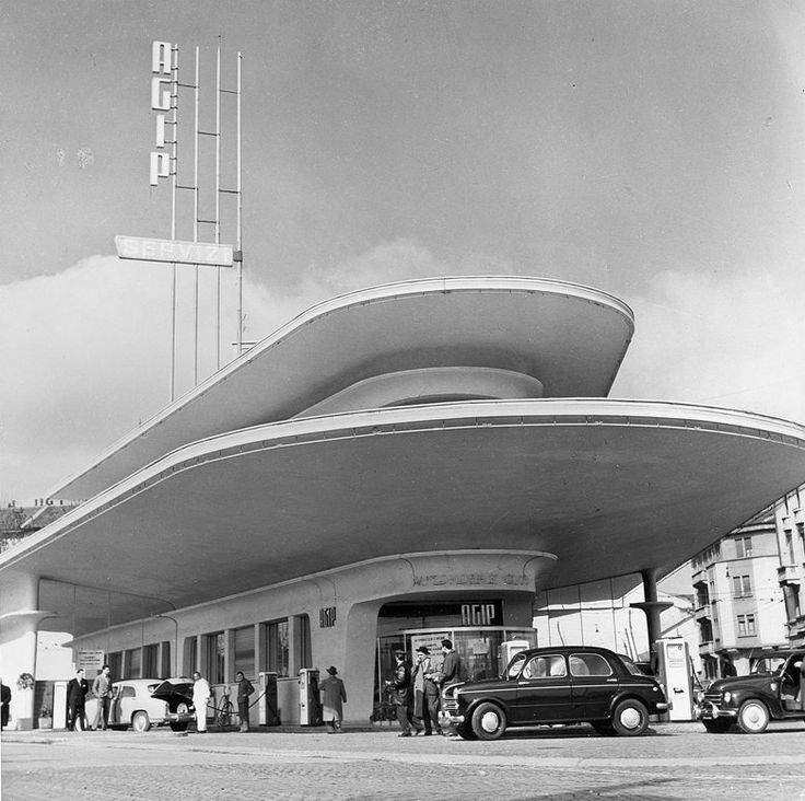 Stazione Agip di Piazzale Accursio, Milano, 1952; architetto Mario Bacciocchi #architecture #gasstation #design #italiandesign #classic #Milano #Italy