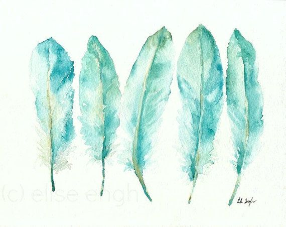 Original Watercolor Goose Feathers Painting, Blue, Teal, Green, Aqua, 8x10