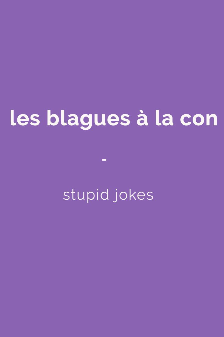 les blagues à la con - stupid jokes. All the French slang terms you need to speak like a native: 1,500 French slang terms across 23 topics. With FREE Audio and bonus book! Get it here: https://store.talkinfrench.com/product/french-slang-ebook/