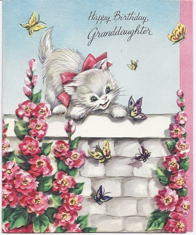 1950s Kitten Butterflies Happy Birthday Granddaughter Card