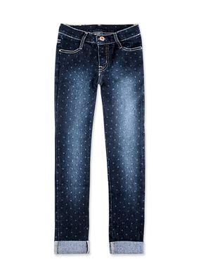 Calça jeans infantil menina com estampa e dobra na barra na cor azul em tamanho 002. A Hering Kids acha os jeans estampados um charme! A delicadeza dos detalhes deixa a peça ainda mais linda. Fica perfeito para combinar com jaquetas e coletes de pelinho. A menina vai amar! Essa linda calça confeccionada em jeans de algodão, poliéster e elastano possui modelagem skinny confortável. Conta com regulagem interna de tamanho, passantes de cinto, quatro bolsos e braguilha com zíper e botão. Tem…