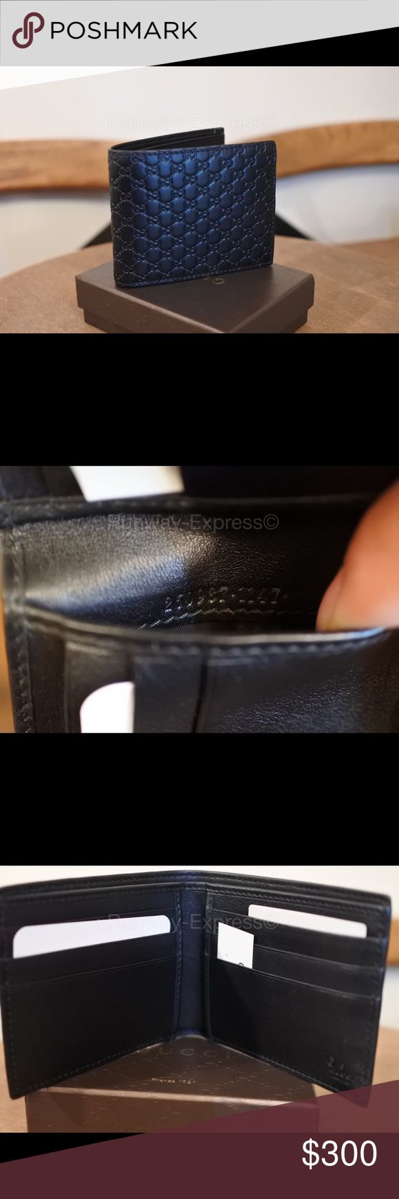 """Gucci Micro Guccissima Bi-Fold Wallet 100% Authentic Brand New   Black micro Guccissima leather with black leather trim/interior. Six card slots and two bill compartments. Closed, 3 1/2""""H x 4 1/3""""W x 2/3""""D. Open, 3 1/2""""H x 8 1/2""""W. Made in Italy. About Gucci: In 1921 Florence, a craftsman named Guccio Gucci opened his store to sell leather goods, and a legend was born. Gucci Bags Wallets"""