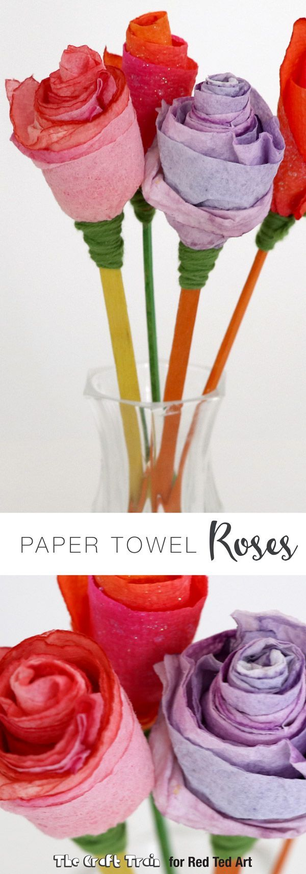 Gorgeous Kitchen Towel Paper Roses. These are so so sooo pretty and the kids will be addicted to making them. From Paper Towel, to stunning rose. Perfect as a Valentines Craft, for Mother's Day or Teacher Appreciation Day!