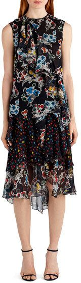 Jason Wu Sleeveless Mixed-Print Chiffon Top, Black Pattern