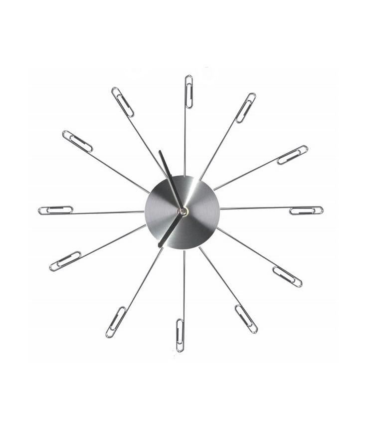 Zegar ścienny - Zegar ścienny ze spinaczami. Wymiary: 10 / 37 cm. Komplet nie zawiera baterii.