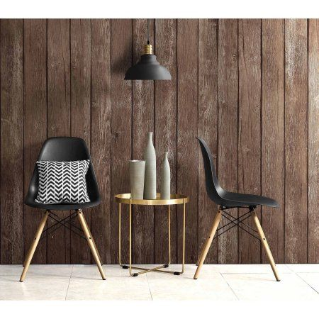 dhp mid century modern molded chair with wood leg set of 2 walmart
