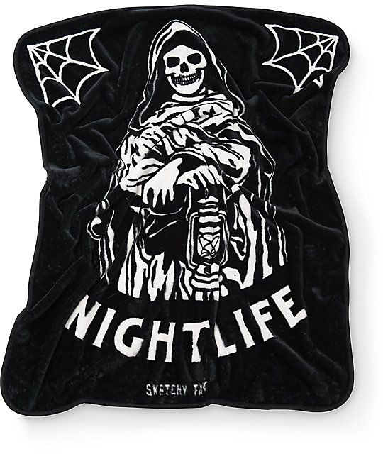 An easy way to cozy up in this thick fleece blanket from Sketchy Tank