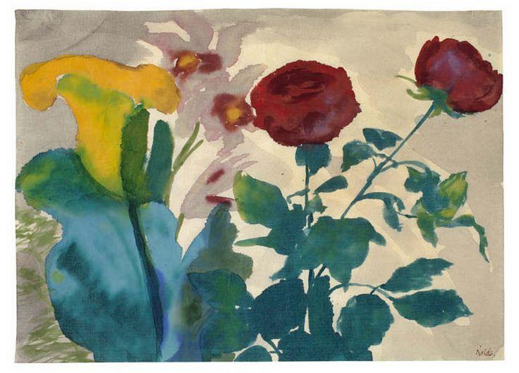 Emil Nolde - Rosen, Calla und Iris (1925)