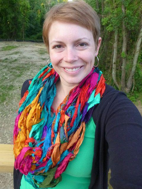 Arm Knit Scarf Starring Darn Good Yarn's Recycled Sari Silk Ribbon Yarn(http://goo.gl/ZD0Fdx)...thanks for sharing Nicole!