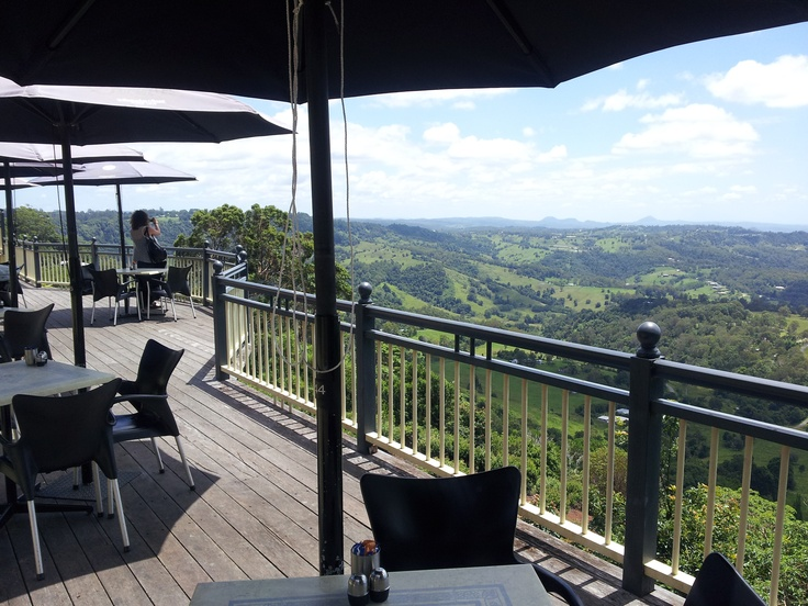 Cafe on the Edge at Montville, Sunshine Coast hinterland, Queensland.  Looking out to the beaches on the Coast.  Great spot for a coffee or lunch.