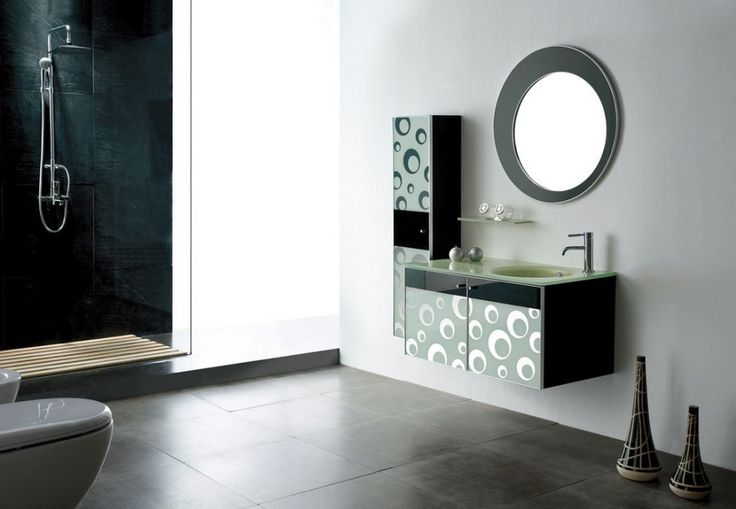 Bathroom  Unique Round Mirror With Black And White Bubbles Bathroom Vanity Cabinets Plus Round Sink Design Get Classy Storage Style by Elegant Bathroom Vanity Cabinets