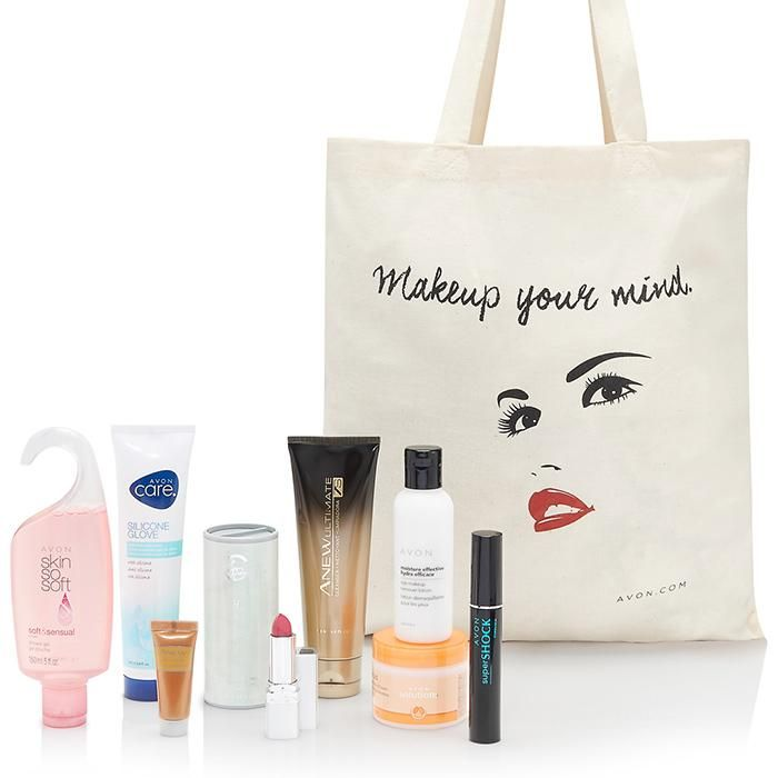 Cyber Monday Gift Set Free with any $65 order Use Code: Cyber2015Direct Delivery Only. While Supplies Last.Gift Set Includes:SuperShock Mascara in BlackBeyond Color Plumping Lip Color - Uptown PinkMoisture Effective Eye Makeup Remover LotionSkin So Soft Soft & Sensual Shower GelHaiku Shimmering Body PowderAnew Ultimate 7S CleanserAvon Care Silicone Glove Protective Hand CreamNurtura Replenishing CreamAnew Power Serum Premium Trial SizeMakeup Your Mind Canvas Tote
