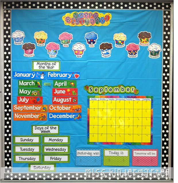 Classroom bulletin board displays.