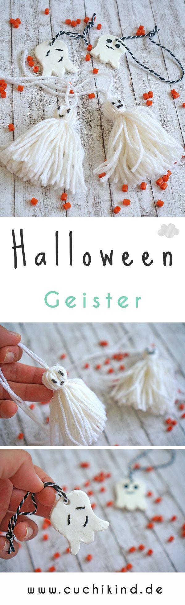 Halloween-Geister aus Wolle oder Fimo. Mit Video-Tutorial, Anleitung zum Nachmachen. Geht schnell und einfach auch mit Kindern. #bastelnmitkindern #halloween #geister #tutorial #video