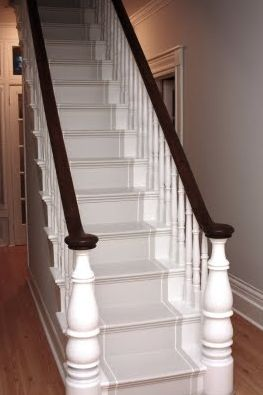 Beautiful Painted Stair Runner - maybe I could do this until I get my floors refinished.