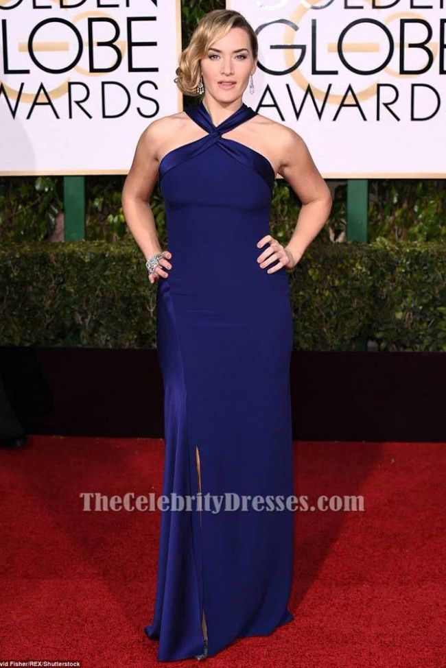 Kate Winslet Royal Blue Formal Dress 73th Golden Globes Awards 2016 Red Carpet Gown - TheCelebrityDresses