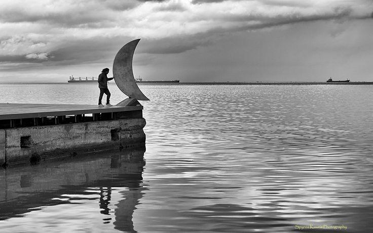Monochrome, Black & White, Landscape, Photography, Greece, Thessaloniki, Sea, Moon, People, Sky, Clouds