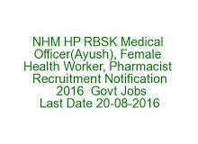NHM HP RBSK Medical Officer(Ayush), Female Health Worker, Pharmacist Recruitment…