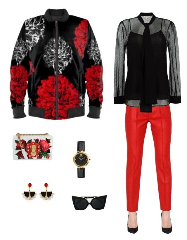 """""""Floral fireworks"""" jacket ootd by guutanii on Polyvore featuring polyvore, fashion, style, MICHAEL Michael Kors, Ingie Paris, Dolce&Gabbana, Lalique, Versace, N°21 and clothing"""