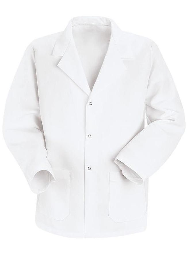 Style Code: (RE-KP16WH) This is a specialized counter coat for men from Red Kap. It is in a notched lapel collar style with long set-in sleeves and two roomy pockets for storage of your paraphernalia. This Red Kap white lab coat also features a square hemmed front and three grippers for closure. Its center back length is 30 inches and the fabric used for making this product is 80% polyester and 20% combed cotton.