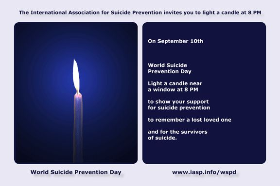 Suicide is more common in someone who has Huntington's disease.  Light a candle near a window at 8 PM on World Suicide Prevention Day.   September 10th  #huntingtondisease #suicide