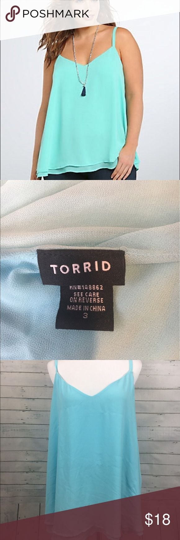 "Torrid double layer chiffon cami tank blue Torrid Women's Plus Size v-neck light blue tank top. size 3. Some loose threads minor pulls  armpit to armpit-26.5"" overall length-31.5"" torrid Tops Camisoles"
