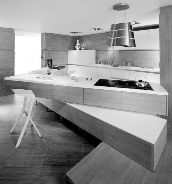 Minimalist Kitchen With Off Set Counter Tops #kitchen #modernkitchens