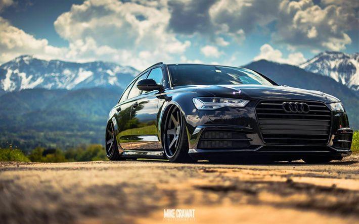 Télécharger fonds d'écran tuning, Audi A6 Avant, low rider, noir a6, voitures allemandes, Audi