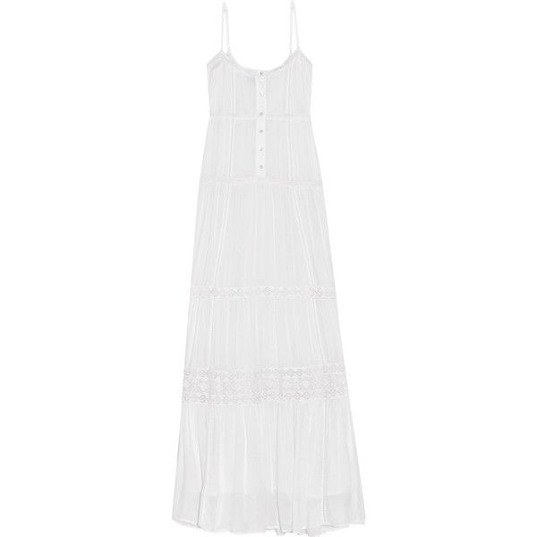 Melissa Odabash Mollie lace-trimmed voile maxi dress (935 BRL) ❤ liked on Polyvore featuring dresses, white dress, beach cocktail dresses, tiered cocktail dress, evening maxi dresses and holiday cocktail dresses