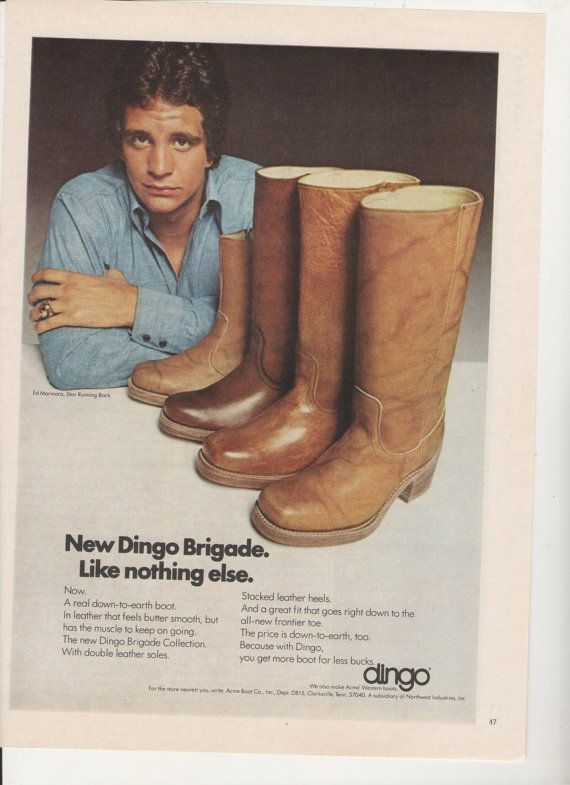 1975 Ed Marinaro Dingo Boots Advertisement  NFL by fromjanet