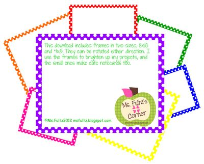 FREE polka dot frames to brighten up your projects, newsletters, writing workshop, etc.