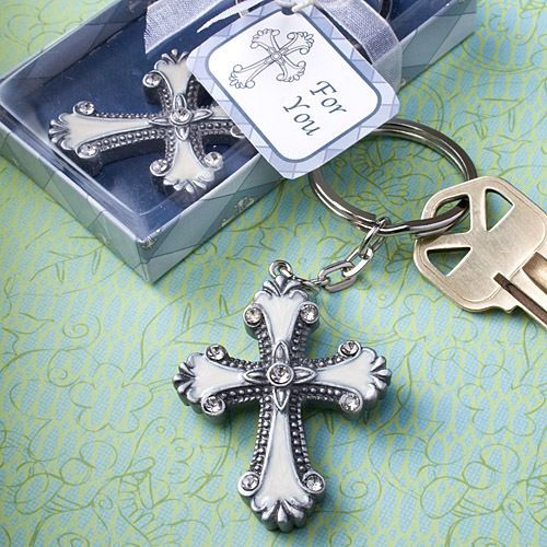 Vintage Cross Key Chain - a pewter colored poly resin cross charm with inlaid white enamel, enhanced with beaded detail and multiple glistening rhinestones.