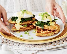 Heritage Eggs Benedict with Spinach and Bacon & Cheddar Waffles