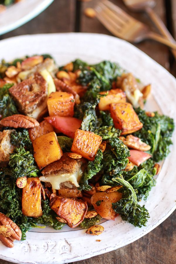 Crispy Kale Roasted Autumn Salad with Brie Grilled Cheese Croutons | Via: halfbakedharvest.com