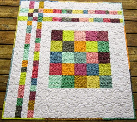 Modern Baby/ Toddler Boy or Girl Quilt  43 x by SueDaurioQuilting, $70.00