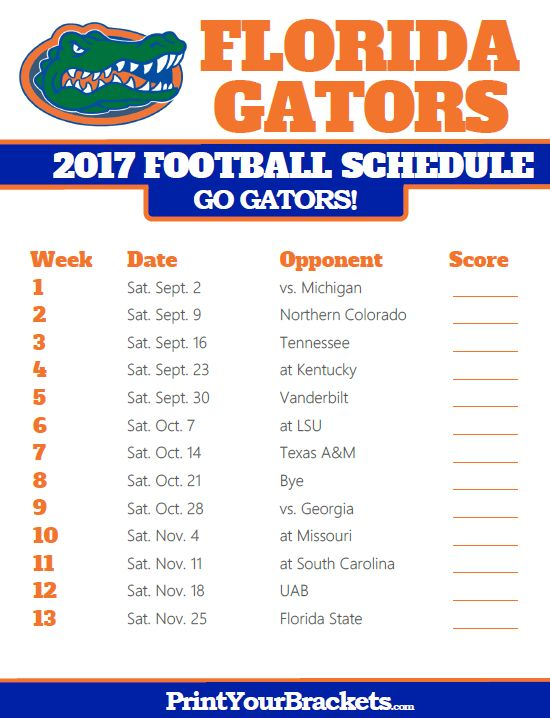 Printable Florida Gators Football Schedule