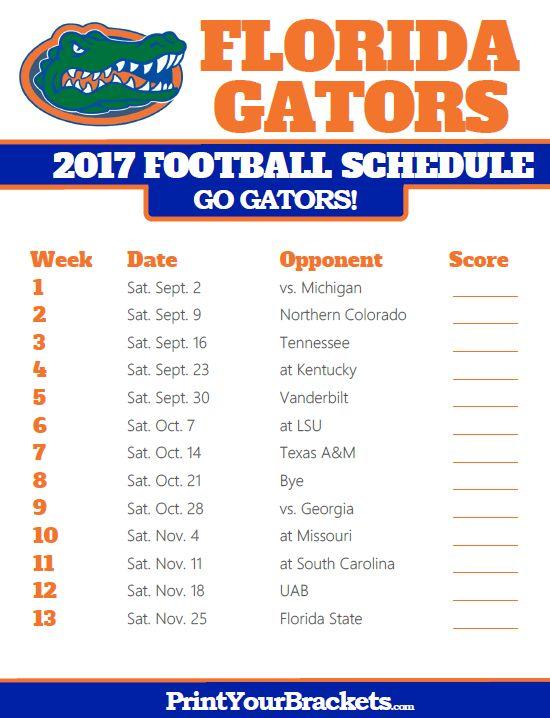 Printable Florida Gators Football Schedule