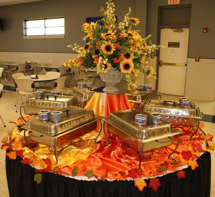 Classy Buffet Table Decoration Ideas featuring Round Shape Buffet Table and Black Orange Yellow Colors Silky Tableclothes & 117 best Buffet Table Ideas images on Pinterest | Buffet tables ...