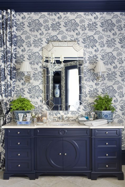 Hydrangea Hill Cottage: Blue and White Lady's Bath and Dressing Room